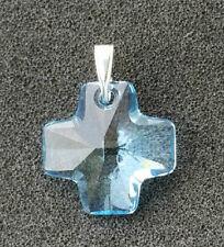 Pendant with Sterling Bail - Each Swarovski #6866 Cross - Aqua - 20mm