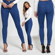 WOMENS NEW LADIES HIGH WAISTED JEANS RIPPED PLAIN SKINNY JEGGINGS SIZES 6-18