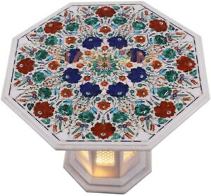 """18"""" Marble Coffee Table Top Carnelian Malachite Floral Inlay With 12"""" Stand W485"""