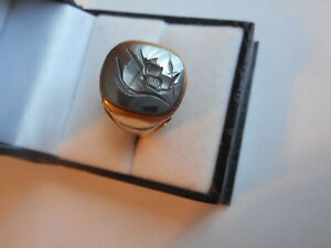 VINTAGE 10K YELLOW GOLD BLACK QUARTZ INTAGLIO ROMAN WARRIER MEN'S RING Sz 9.25