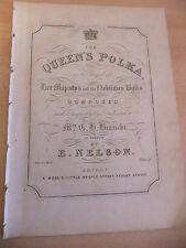THE QUEENS POLKA OLD ANTIQUE PIANO SHEET MUSIC SONG VICTORIAN ORIG BIANCHI NELSO