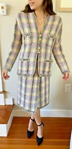 Vintage Chanel Pastel Plaid Tweed Suit with signature gold buttons, size 38