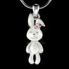 w Swarovski Crystal ~White Bunny~ Hase Easter Rabbit Pink Flower Charm Necklace