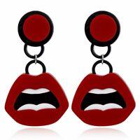 Fashion Acrylic Sexy Red Lips Earrings Geometric Drop Dangle Stud Women Earring