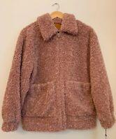 Ugg Kaley XS Pink Women's Teddy Bear Jacket Pink Dawn Zip Up Fur Coat