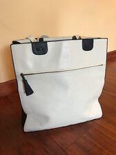 Vintage Bottega Veneta Leather Bag White Navy Italy Excellent