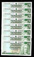 Royal Bank of Scotland Tamaño Grande £ 1 1987 UNC de ejecutar consecutivas de billetes