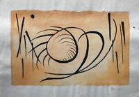 Aquarell Vera Stoss Abstrakt 37 Komposition Orange Schwarz Modern Art