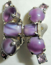 LA REL Vintage 1960s Earrings Clip Purple Cabochon Rhinestone Silver
