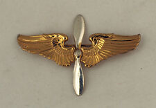 """WW2 STERLING USAAF ARMY AIR FORCE AVIATION CADET WINGS HAT BADGE 3"""" BY TRUART"""