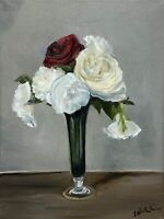 30 x 40 cm original oil painting art on stretched canvas.Vase of roses red ivory