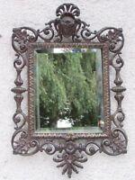 09E30 Antiguo Espejo de Pared Bronce Patinado Set Luis XV Napoleón II III Años