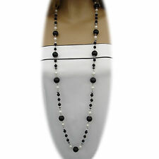 Long Black & White Pearl Drop Beaded Necklace