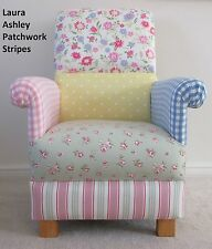Laura Ashley Patchwork Fabric Adult Chair Pink Floral Spotty Armchair Blue Lemon