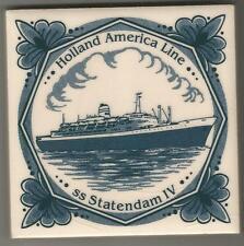 Holland America LIne  Blue Delft Tile...Vintage..ss Statendam IV ..1957-1982