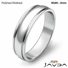 Wedding Band Plain Dome Step Ring Women Solid 5mm 18k White Gold 5gm Sz 7 - 7.75