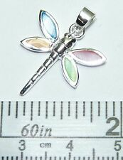 Sterling Silver Dragonfly Pendant with Pastel Shell Inlay. Real Silver !
