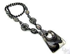 Bettelkette Perlen Crack geometrisch Damen XXL Blogger Anhänger Halskette