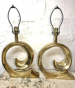 RARE VTG MCM 60s Pierre Cardin Erwin Lambeth Brass Swoosh Table Lamp Mid Century