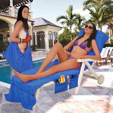 Badetuch Handtuch Mikrofaser Urlaub Strandtücher für Liege mit-Tasche blau DE
