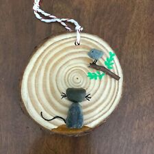 Cat & Bird Pebble Art in a Wood Slice, Bird in a Branch Ornament from USA Artist
