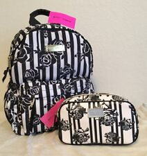 BETSEY JOHNSON FLORAL STRIPED BLACK WHITE TRAVEL SCHOOL BACKPACK & POUCH NWT