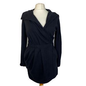 Comptoir Des Cotonniers Black Wool Cotton Long Pocket Cardigan Size L 14
