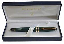 WATERMAN  EXPERT ORIGINAL GREEN & GOLD TRIM FOUNTAIN PEN FINE   PT NEW IN BOX
