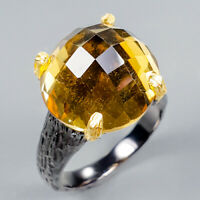 Handmade Ring Natural Citrine Quartz 925 Sterling Silver Ring Size 7.5/R125097