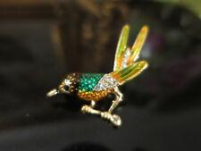 Gorgeous Vintage Art Deco design Bird Brooch, gold tone, enamel & rhinestones