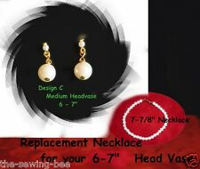 "Replacement Necklace & Earrings 6-7""  Vintage Head Vase Headvase gold"