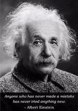 Inspirational Motivational Albert Einstein Quote Poster - A3 Size Portrait