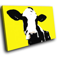 A021 Yellow Abstract Black Cow Funky Animal Canvas Wall Art Large Picture Prints