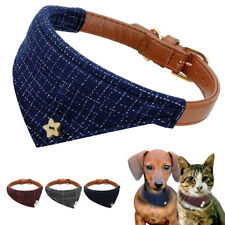 Dog Bandana Collar Leather Pet Cat Adjustable Neckerchief Necklace Neck Scarf