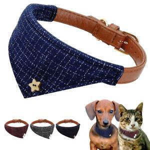 Dog Bandana Collar Leather Pet Cat Adjustable Neckerchief Necklace Neck Scarf