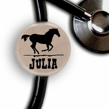 RUNNING HORSE PERSONALIZED STETHOSCOPE ID TAG