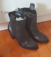TONY BIANCO Black Soft Leather Pull On Ankle Boots High Heels Size 9