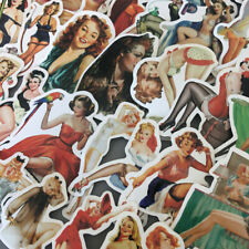 Lot 50 Vinyl Pin Up Girl Retro Sexy Beauty Laptop Stickers Decals Sticker PVC