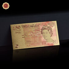 WR 24K England £50 Pound Note Gold Foil Banknote British Souvenirs Holiday Gifts