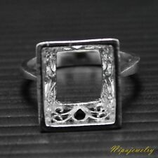 Ring Setting Sterling Silver 12.5x11.5 mm.Rectangle. size 7.5