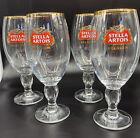 Set of 4 Stella Artois Belgium Beer Glasses Chalice 33CL Gold Rimmed