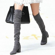 $895 STUART WEITZMAN Thighland Suede Over The Knee Boot, Slate/Gray, US 5.5 / 36