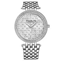 Stuhrling Women's Silver Stone Studded Face Stainless Steel Link Bracelet Watch