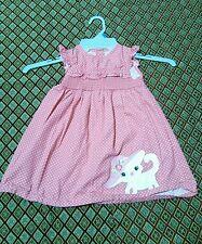 Gymboree TEA TIME Adorable Pink Polka Dot Kitten Cat Dress 2T 24 Month EUC