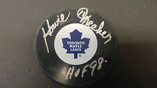 Howie Meeker Toronto Maple Leafs Double Autographed Signed NHL Logo Puck COA