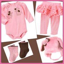 NWT 3-6 mos Gymboree POLKA DOT PUPPY pink brown 4pc bodysuit pants socks hat SET