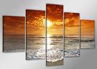 Tableau Déco Coucher de soleil Mer Océan 5 partie Image sur toile 200x100 cm