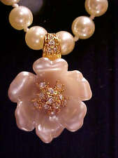 Nolan Miller gem Glamour Collection simulated pearl necklace w flower enhancer