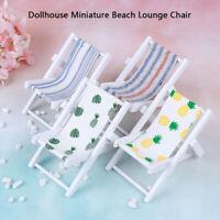 1:12 Dollhouse Miniature Chairs Beach Lounge Chair Garden Decoration Accesso  NT