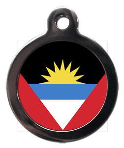 Pet ID tag Flag of Antigua and Barbuda design, personalised